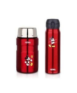 Thermos Mickey 90th S/Steel King Food Jar 710ml + Ultra Light Flask 600ml